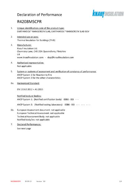 Knauf Insulation Rocksilk® RainScreen Slab Declaration of Performance