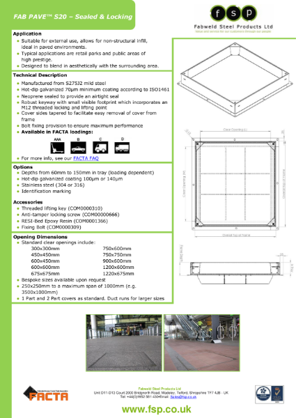 FAB PAVE S20 Data Sheet