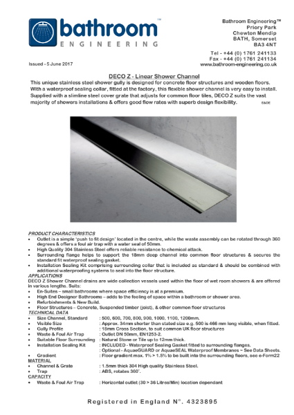 Linear Floor Drain - Deco Z