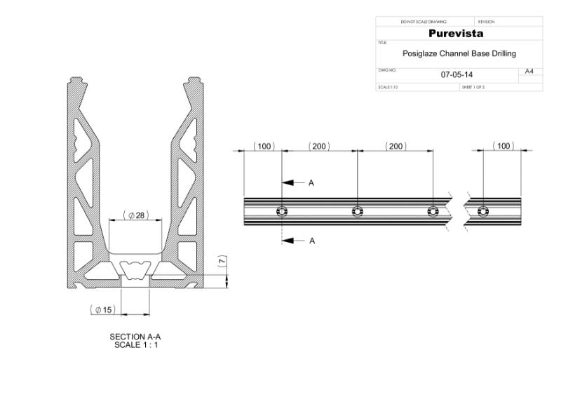 Posi-Glaze Frameless Glass Balustrade Channel Drilling Diagram