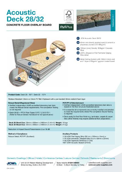 Acoustic Deck 28 / 32 for Concrete Floors