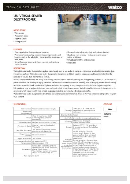 Data Sheet: Universal Sealer Dustproofer