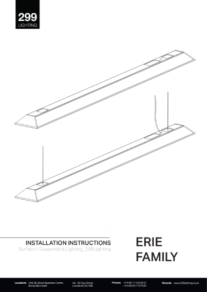 Erie Suspended Feature Lighting Installation Instruction