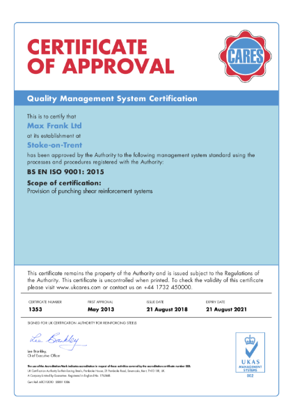 ISO 9001:2008 Certificate (CARES)