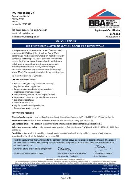 15/5283_4 IKO Enertherm ALU Insulation Board For Cavity Walls