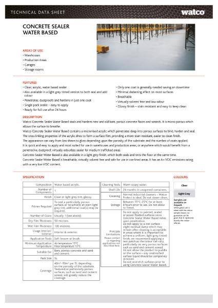Data Sheet: Concrete Sealer Water-Based