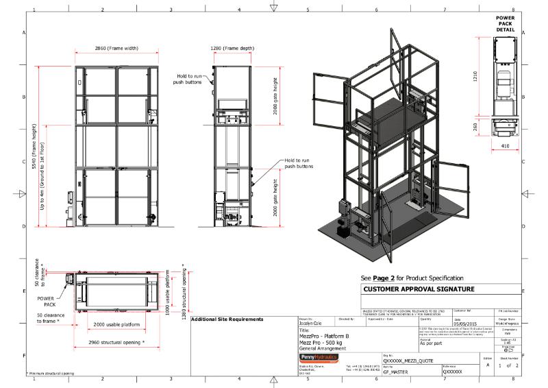 MezzPro 500kg (Large Platform) Goods Lift Technical Data Sheet