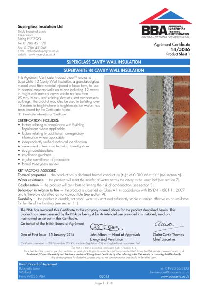 Superglass Superwhite 40 Blown Cavity Insulation - BBA Certificate