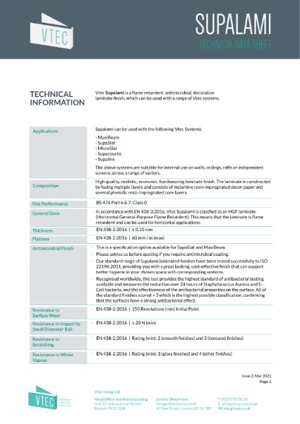 Supalami Laminate - Cost Effective Finish - Data Sheet