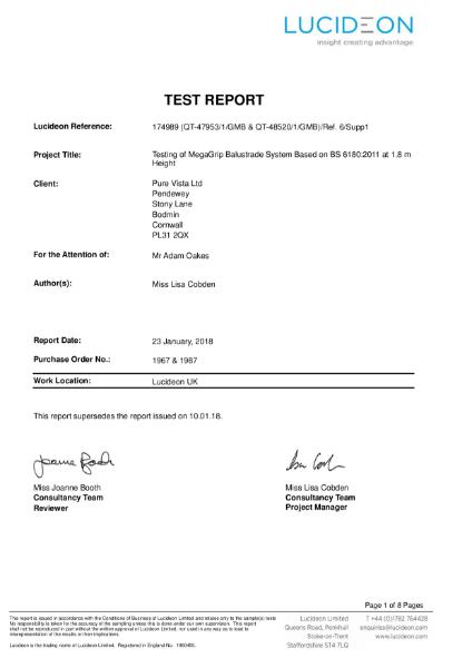 Mega-Grip Frameless Glass Partition Screen 1.5kn/mtr Test Report