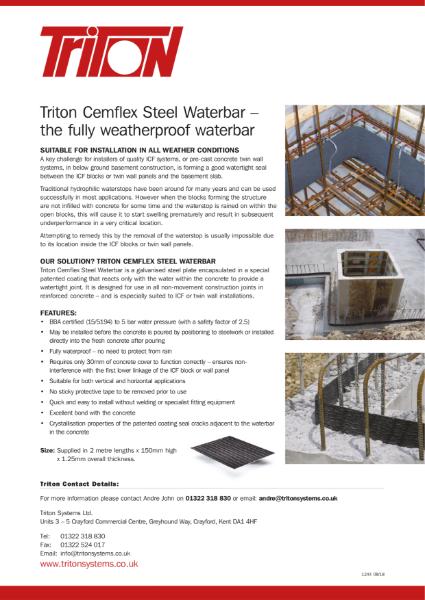 Triton Cemflex Steel Waterbar for Structural Waterproofing Data Sheet