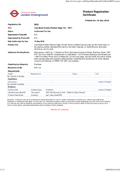 AATi certificate for AATi Anti-slip Platform Edge Tile ref: PET/1