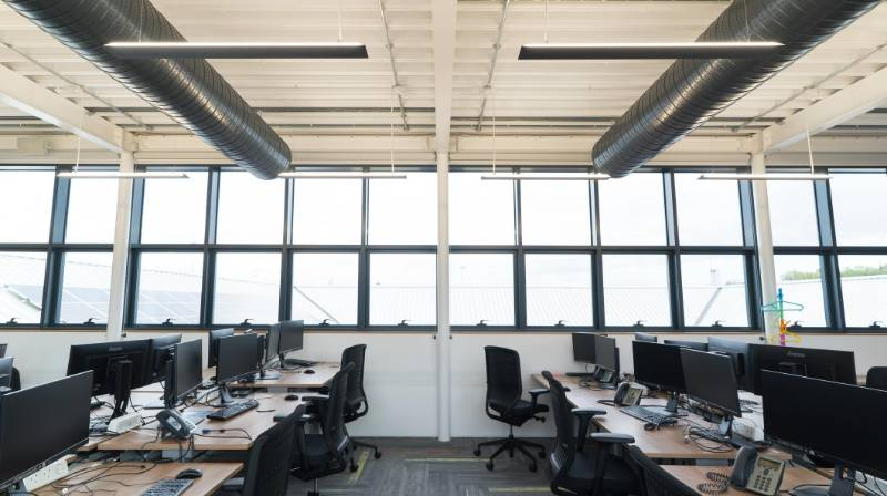 Office Lighting Scheme Using Indirect Lighting. Office for National Statistics, Newports.