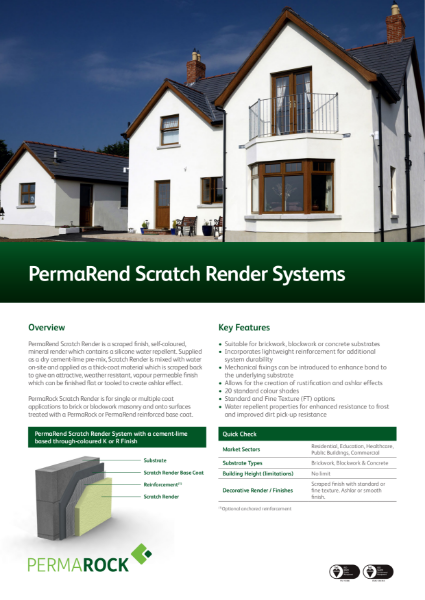 PermaRend Scratch Render System (self-coloured, mineral render finished flat or tooled to create ashlar effect)