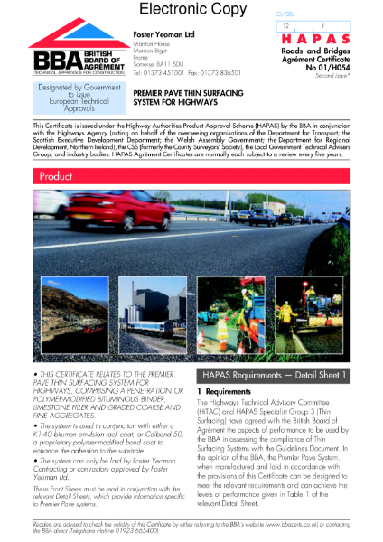 Premier Pave thin surfacing system for highways
