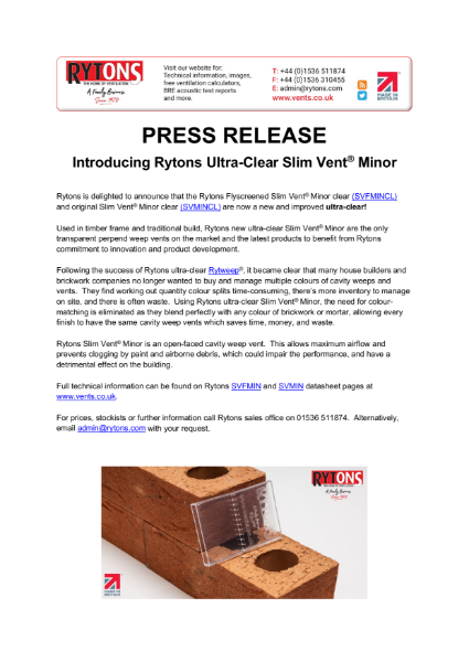 Introducing Rytons Ultra-Clear Slim Vent® Minor