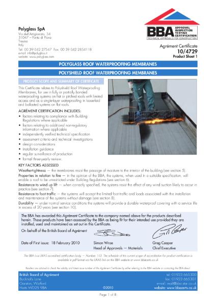 10/4729 POLYSHIELD ROOF WATERPROOFING MEMBRANES