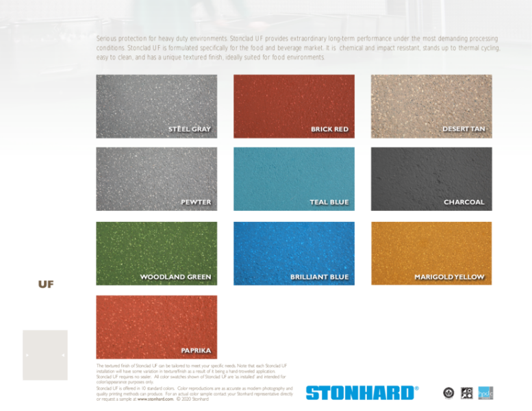 Stonclad UF Color Sheet (EUROPE 2020)