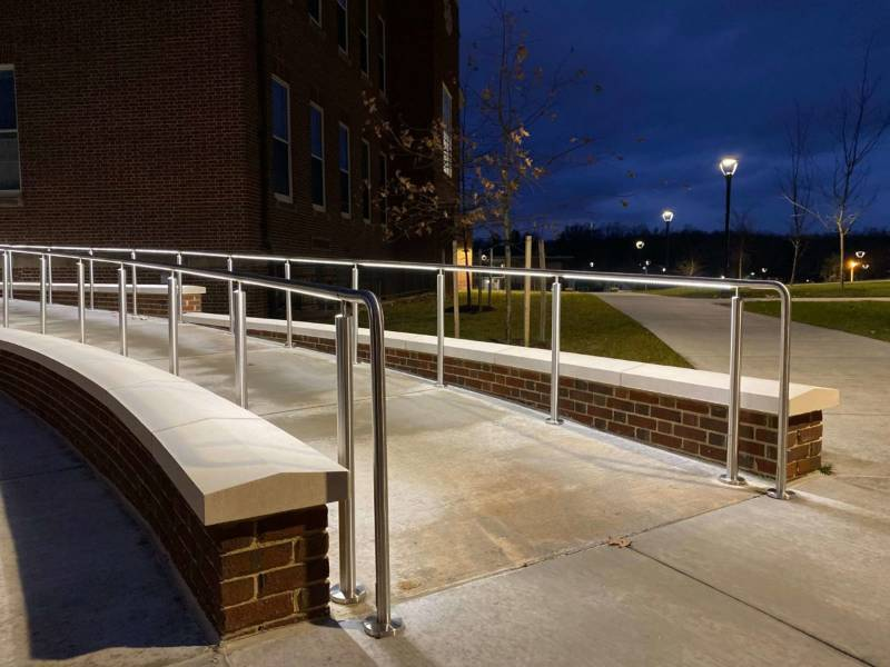 Education building featuring HDI Circum LED Code Compliant Balustrade and Railing System.'