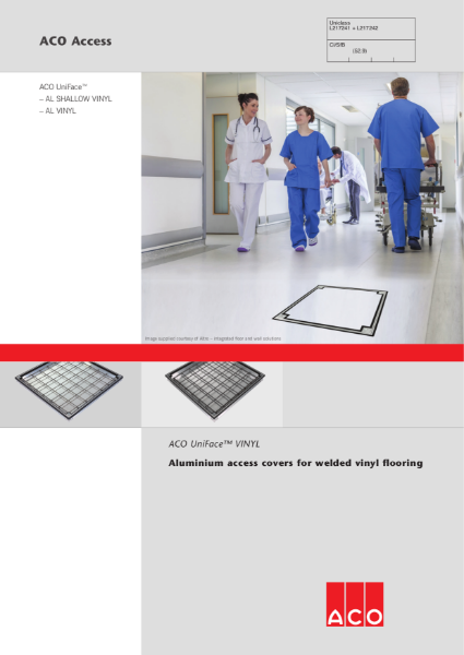 ACO UniFace Aluminium Covers For Welded Vinyl Flooring Brochure