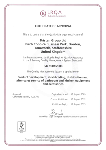 ISO 9001: 2012 Certificate