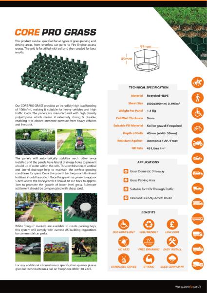 CORE PRO GRASS Grid Specification Sheet