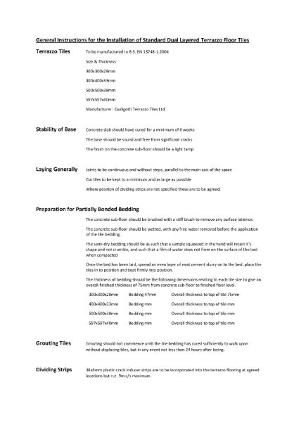 General Instructions for the Installation of Terrazzo Floor Tiles