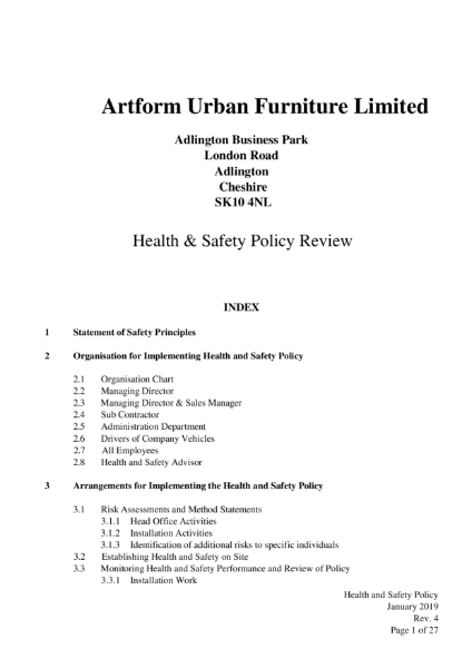 Health & Safety Policy Review Document 2019