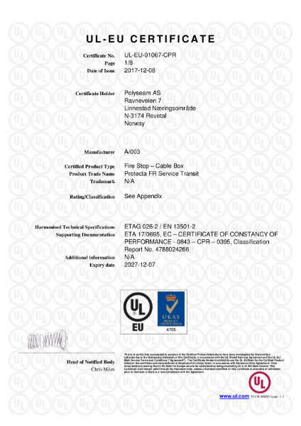 Protecta FR Service Transit - UL-EU Certificate