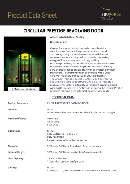 Bauporte Circular Prestige Revolving Door