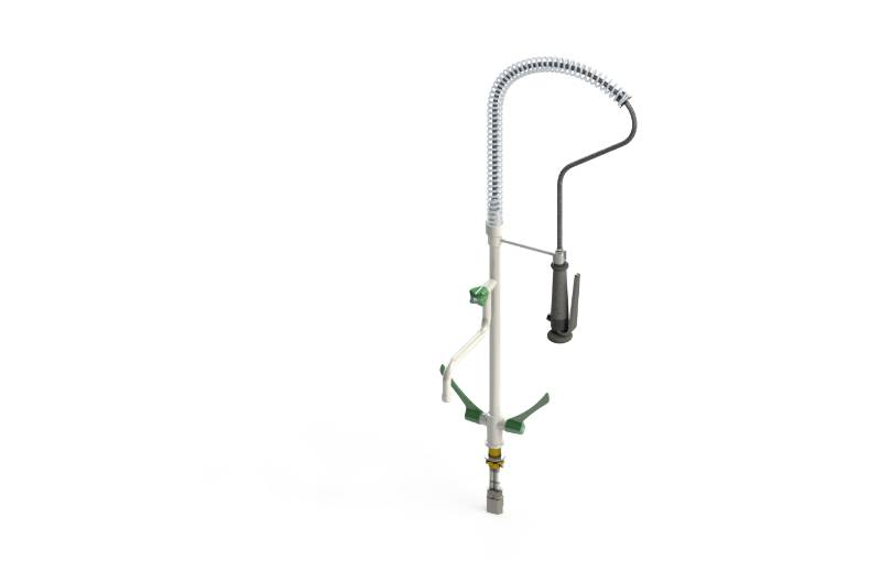 Table mounted catering mixer/pre-rinse mixer with hand shower and swivel spout