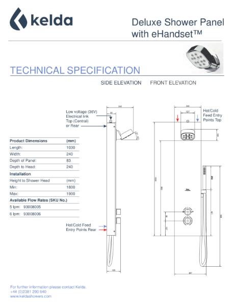 Kelda Showers - Technical Specification - Deluxe Shower Panel with eHandset™