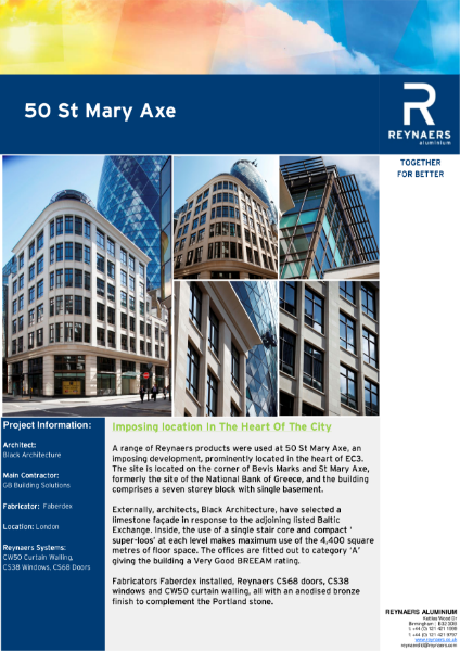 Case Study: 50 St Mary Axe, featuring CS 38 aluminium windows