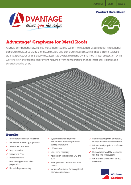 Advantage Graphene for Metal Roofs - Product Data Sheet