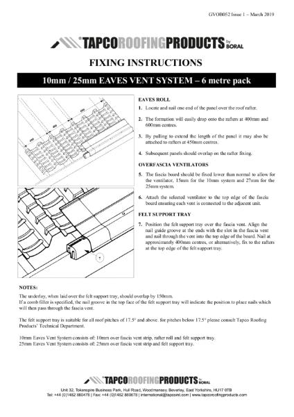 Tapco Eaves Ventilation Kits Fixing Guide