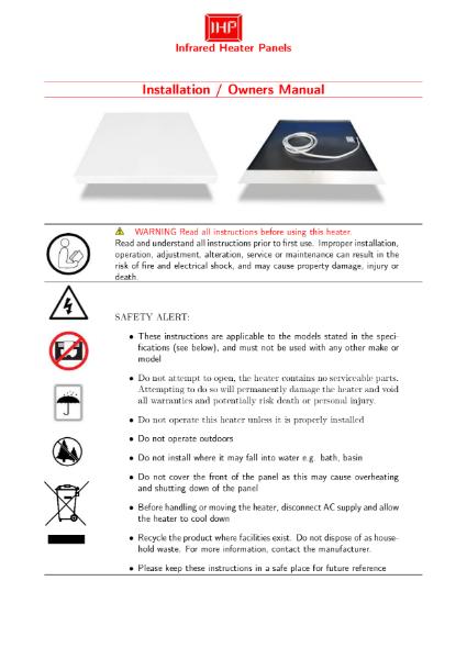 IHP Far Infrared Heater Panel Manual