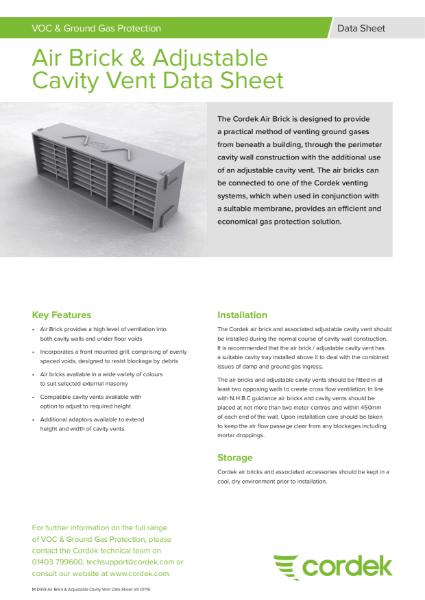 Cordek Air Brick and Adjustable Cavity Vent Data Sheet
