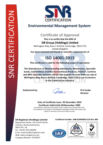 ISO 14001 Certificate DB Group