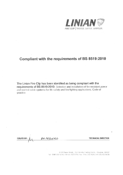 BS8519 Compliance Certificate