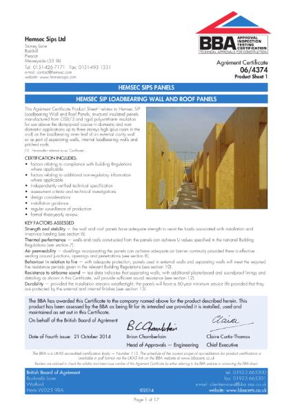 06/4374 Hemsec SIP Loadbearing Wall and Roof Panels