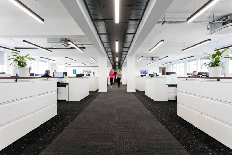 Slim Linear Office Lighting for a Modern Office Refurbishment. Vintry Building, Bristol.