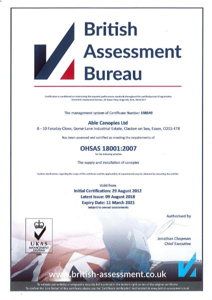 OHAS18001 Certificate
