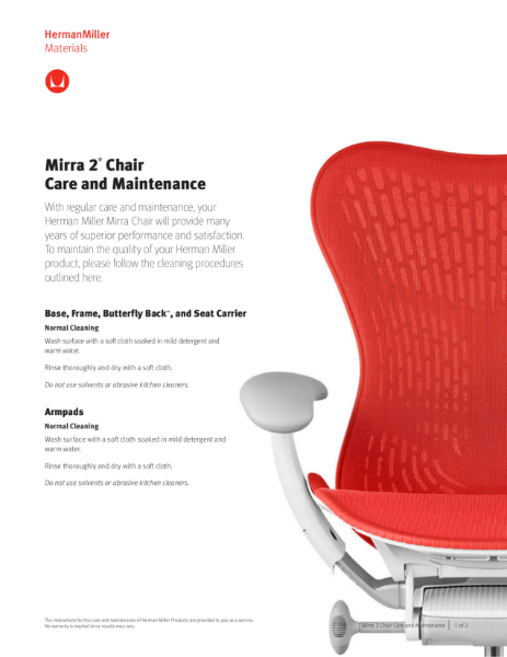 Mirra 2 Chair - Care and Maintenance