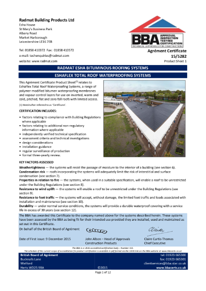 BBA Certificate EshaFlex Total Roof Waterproofing Systems
