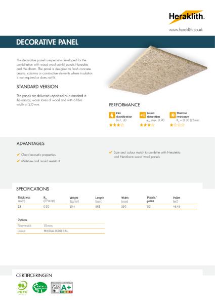 Datasheet Decorative Panel Heraklith Wood Wool