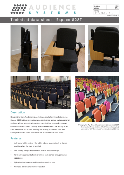Espace 628T chair with writing tablet: Suitable for lecture theatres, retractable, removable, and auditorium seating.