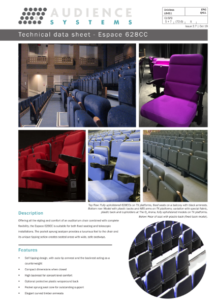 Espace 628CC chair: High specification multipurpose chair with pocket sprung seat suitable for retractable, removable, auditorium and theatre seating