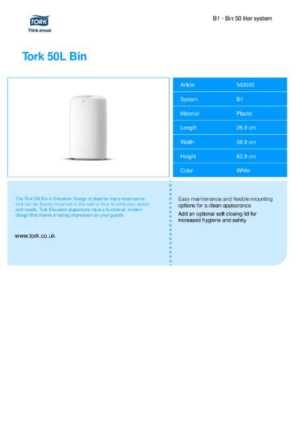 Tork waste bin 50l (White)