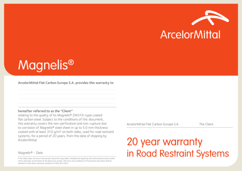 Magnelis warranty Road Restraint Systems EN