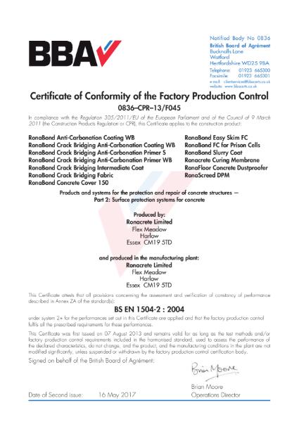 FPC Certificate (0836–CPR–13-F045 to BS EN 1504-2)